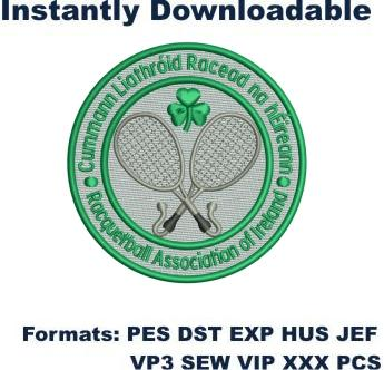 Racquetball Association of Ireland embroidery design